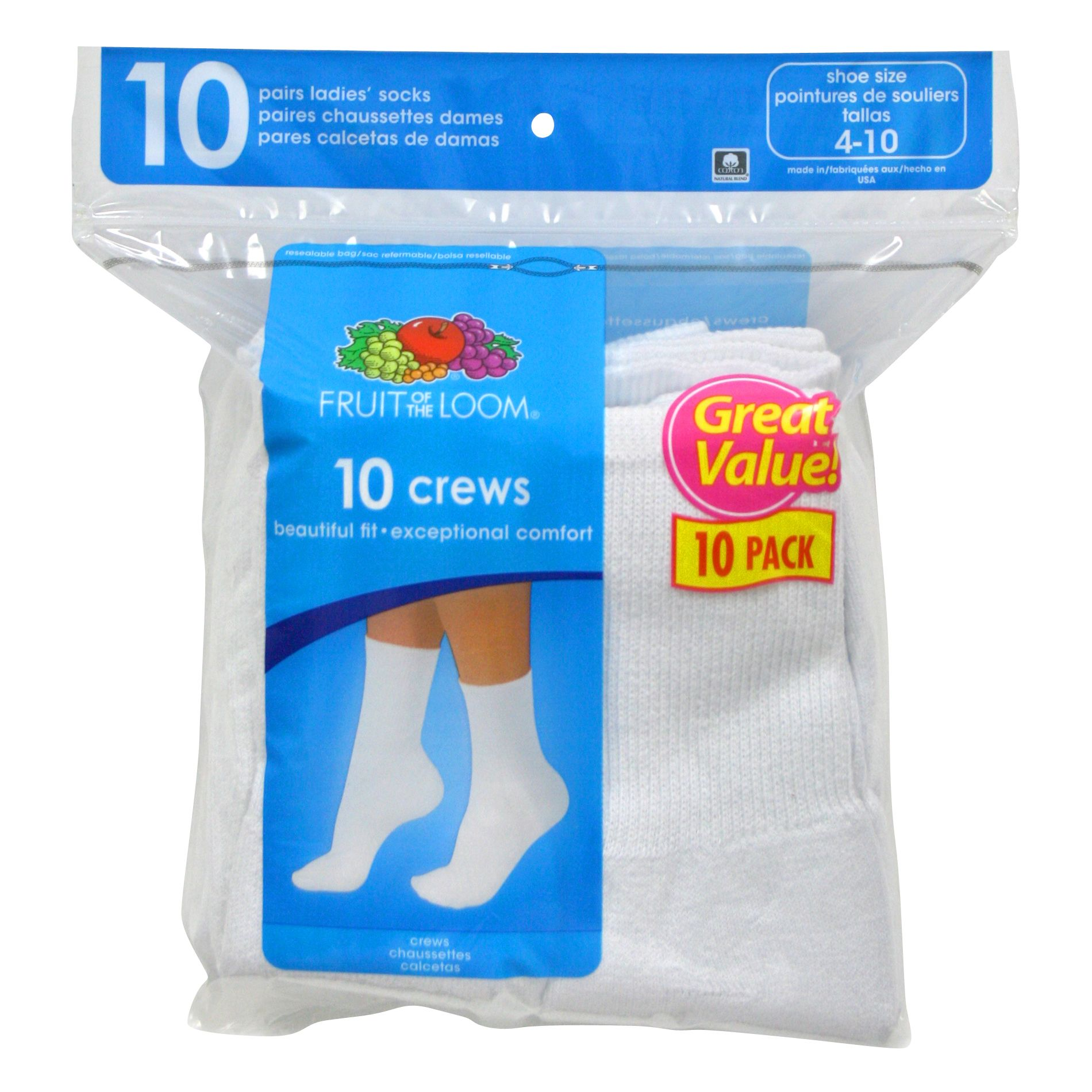 Fruit of the Loom Women's Crew Socks - 10pk
