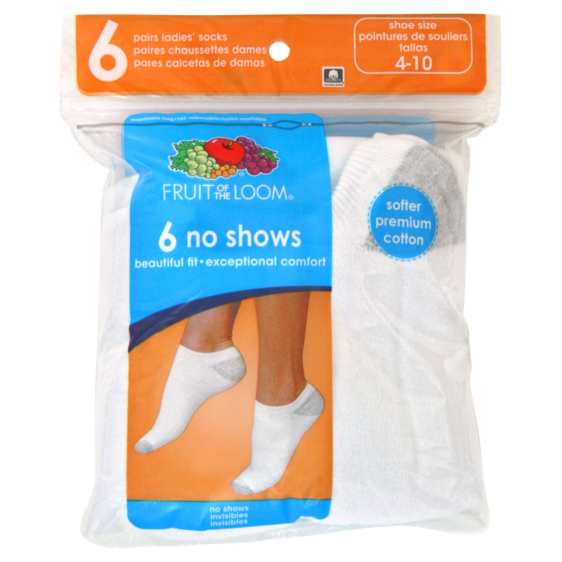 Fruit of the Loom Women's 6-pair White No Show Socks