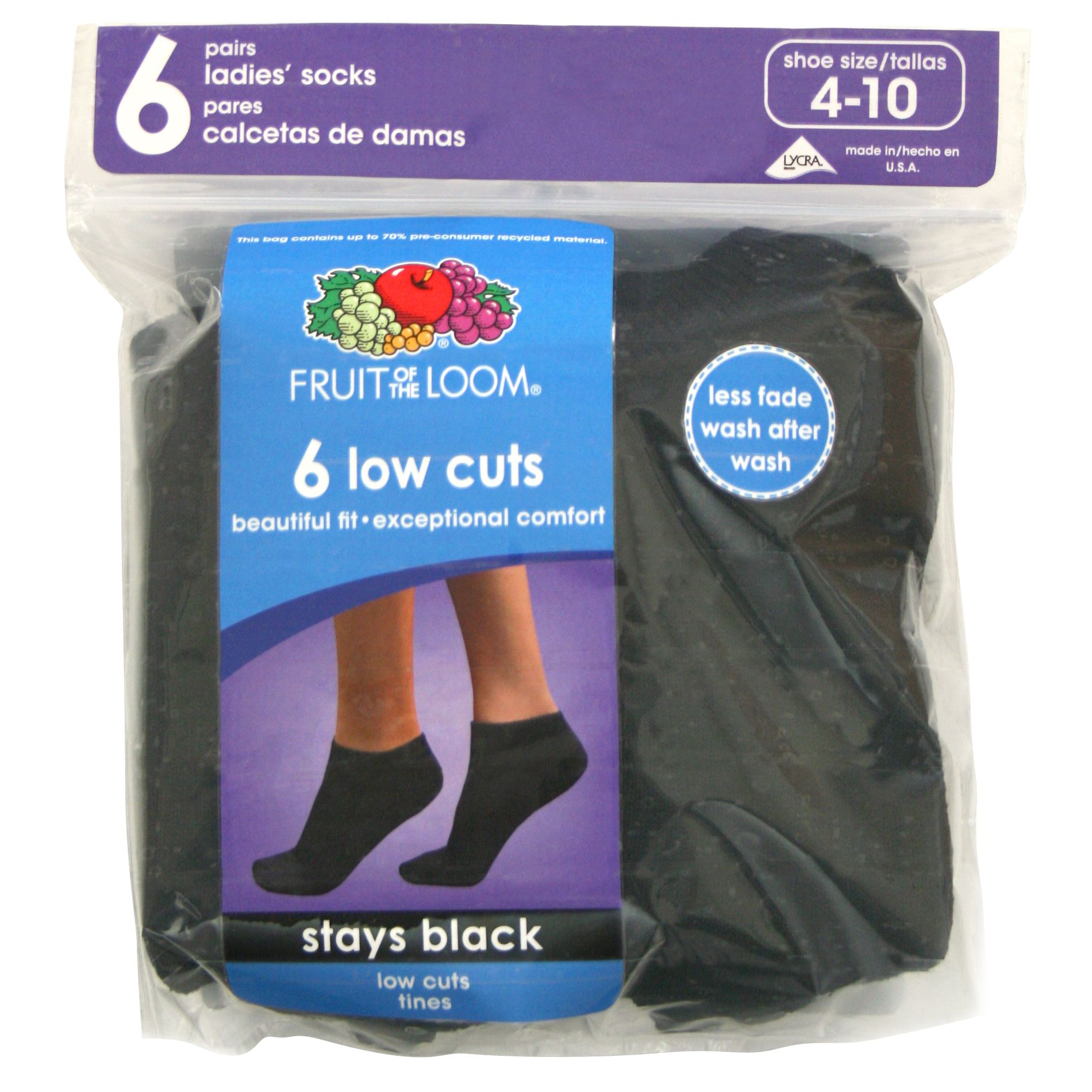Fruit of the Loom Women's 6-pair Black Cushioned Low Cut Socks