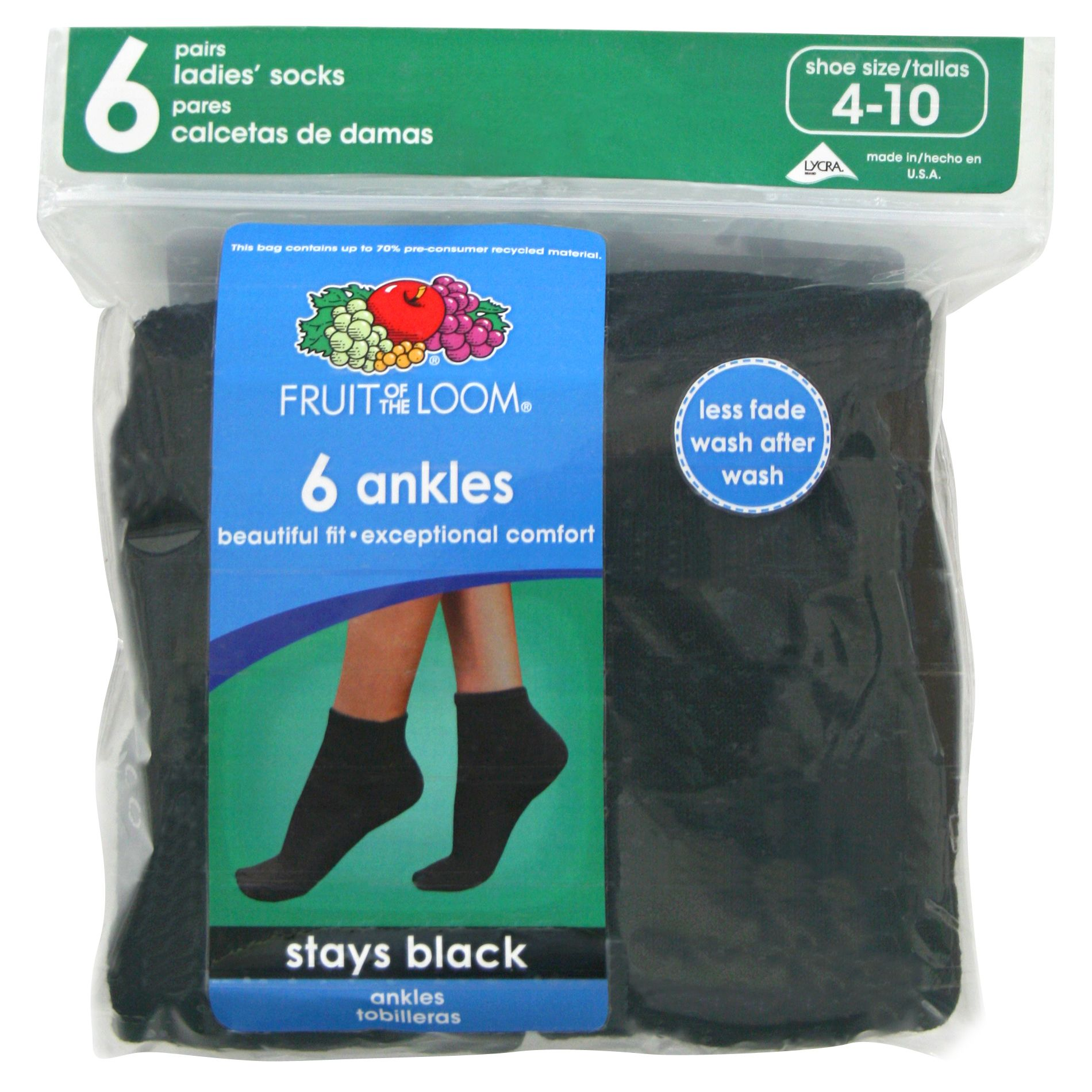 Fruit of the Loom Women's 6-pair Black Cushioned Ankle Crew Socks