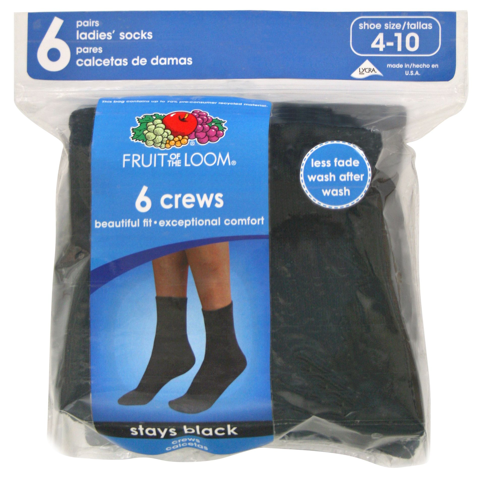 Fruit of the Loom Women's 6-pair Black Cushioned Crew Socks