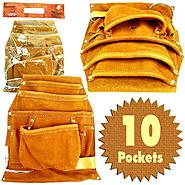 Trademark Tools Professional 10 Pocket Genuine Leather Tool Bag Pouch at Craftsman.com