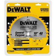 DeWalt 10 in. x 40T Saw Blade,Thin Kerf General Purpose at Sears.com