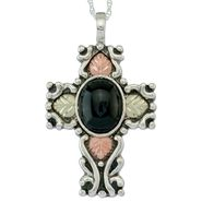 Black Hills Gold Tricolor Sterling Silver Antiqued Onyx Cross Pendant at Sears.com