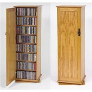 Leslie Dame Two Sided Spinning Multimedia Storage Cabinet With Doors And  Natural Oak Fini at Kmart.com