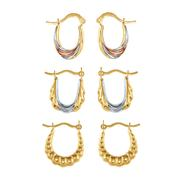 3 Pair Stamped Hoop Set in 10K Tri-color Gold. at Sears.com