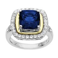 SG Lab Created Sapphire & White Sapphire Ring. 14K Yellow Gold & Sterling Silver at Sears.com