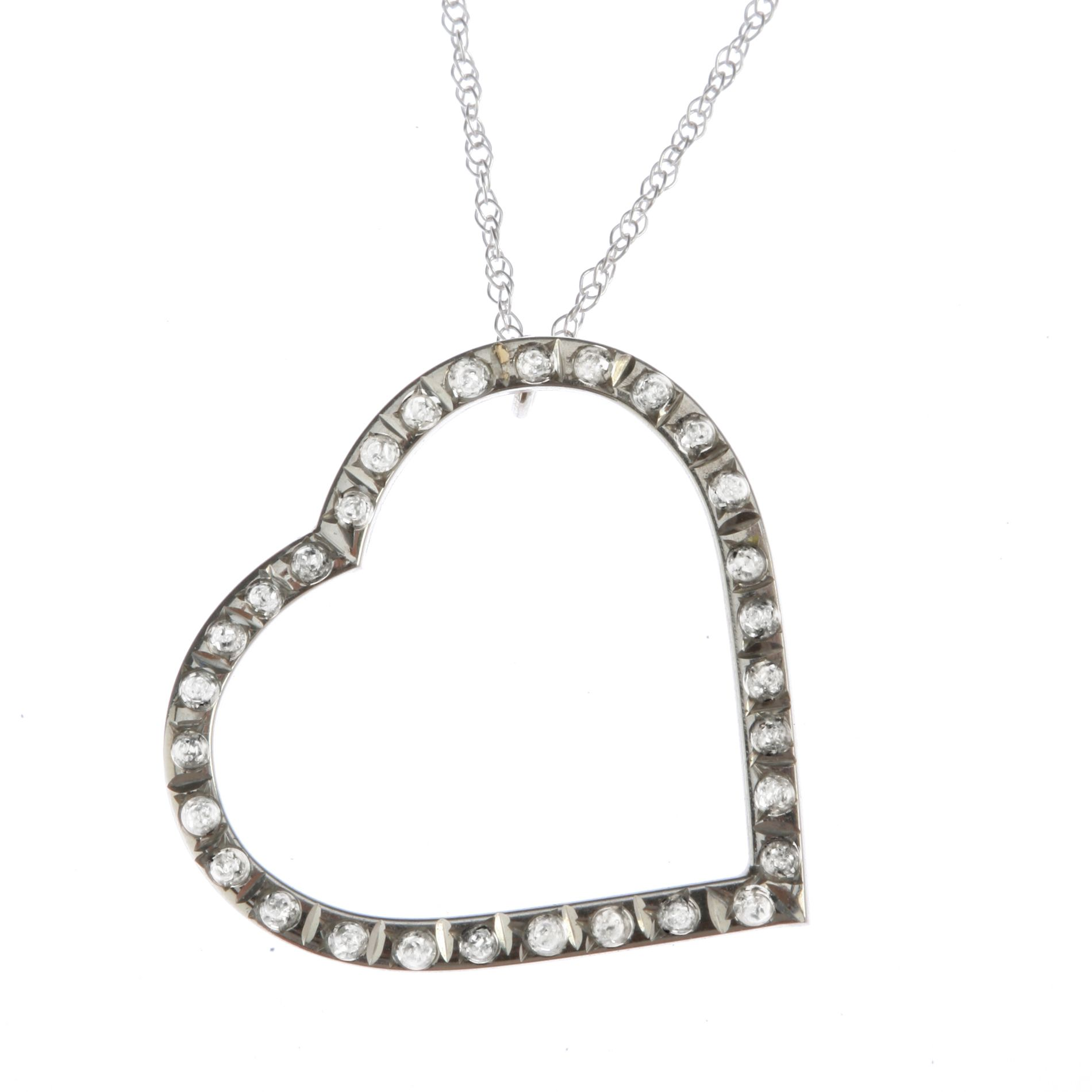 14k White Gold Diamond Accent Open Heart Pendant