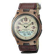 Casio Mens Calendar Day/Date Watch with Round Tan Dial and Brown Fabric Band at Sears.com