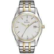 Bulova Mens Watch with Round Silver Dial and Two-tone Expansion Band at Sears.com