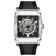 Bulova Mens Watch with Square Silvertone Case, Mechanical Dial and Black Leather Band at Sears.com