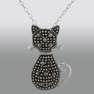 Sterling Silver Marcasite Cat Pendant at Kmart.com
