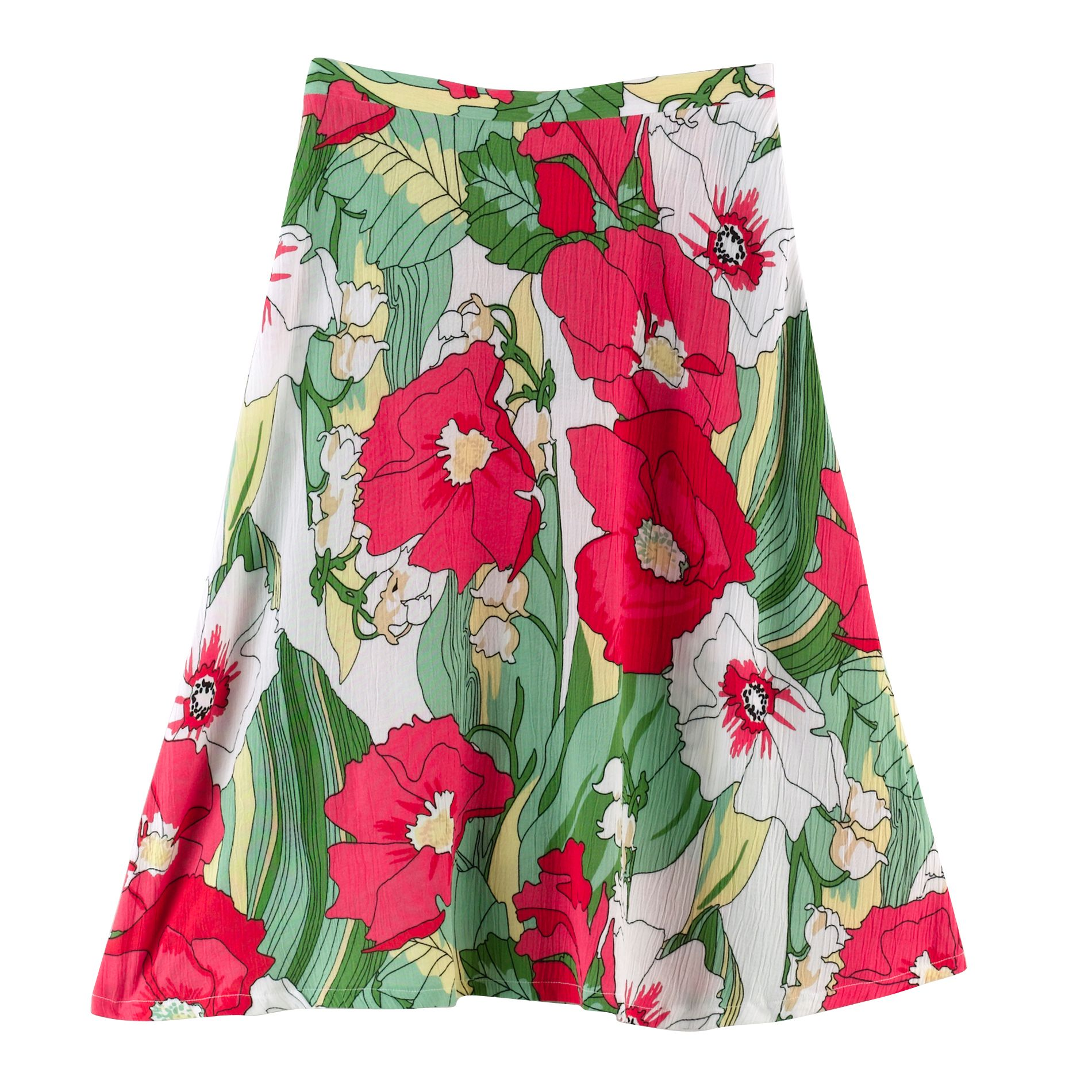 Jaclyn Smith Womens Crepon Floral Print Skirt