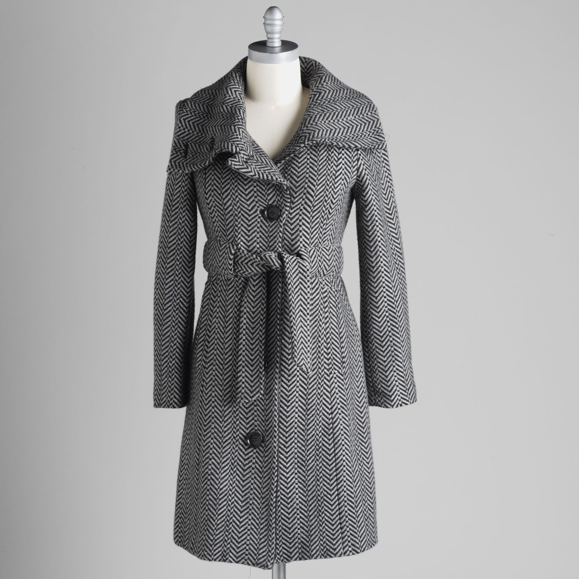Attention Womens Herringbone Trench Coat
