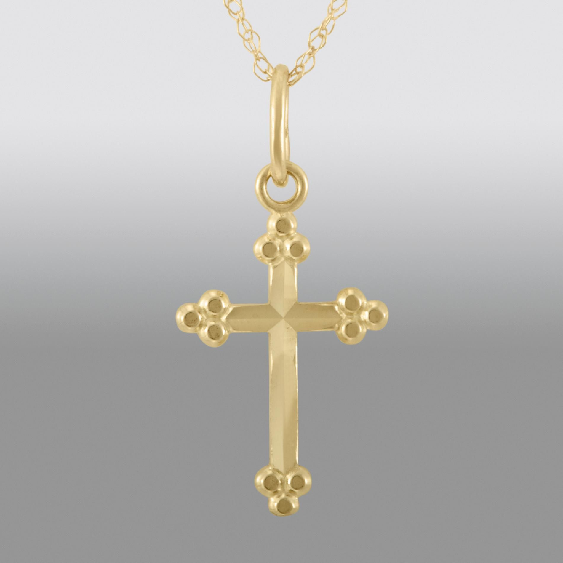 Childs Bead Edge Cross Pendant. 14K