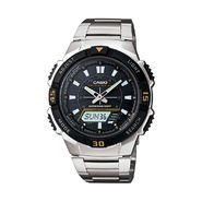 Casio Mens Calendar Day/Date Ani-Digi Watch w/ Black Dial and Silvertone Band at Sears.com