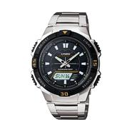Casio Mens Calendar Day/Date Solar Power Watch w/Silvertone/Black Case/Dial and ST Band at Sears.com