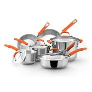 Rachael Ray Stainless Steel Cookware 10pc set (orange rubberized handle) at Sears.com