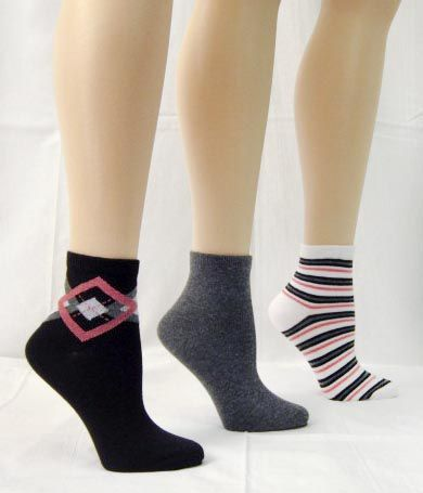 Basic Editions Women's Anklet Socks Three Pairs Solid/Patterns