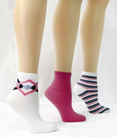 Basic Editions Women's Ankle Length Socks Three Pair Striped/Solid/Preppy