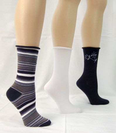Basic Editions Women's Crew Socks Three Pairs Assorted White/Black