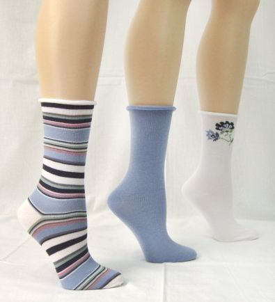 Basic Editions Women's Crew Socks Three Pairs Assorted Light Blue/Gray