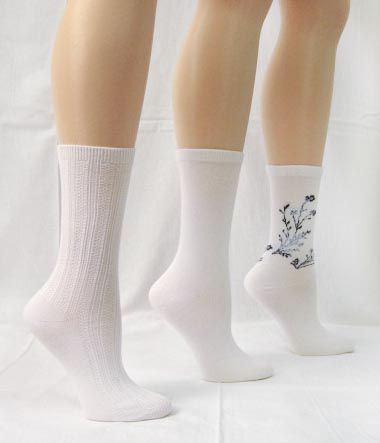 Basic Editions Women's Roll Top Crew Socks Three Pair White