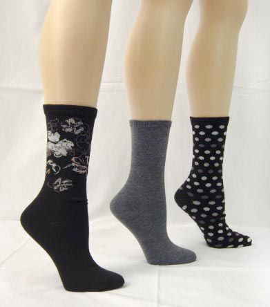 Basic Editions Women's Crew Socks Assorted Three Pack Black/Gray