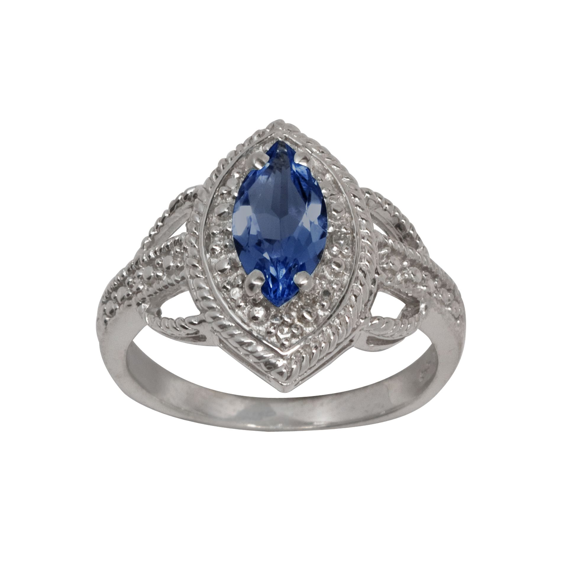 Lab Created Sapphire and Diamond Accent Ring