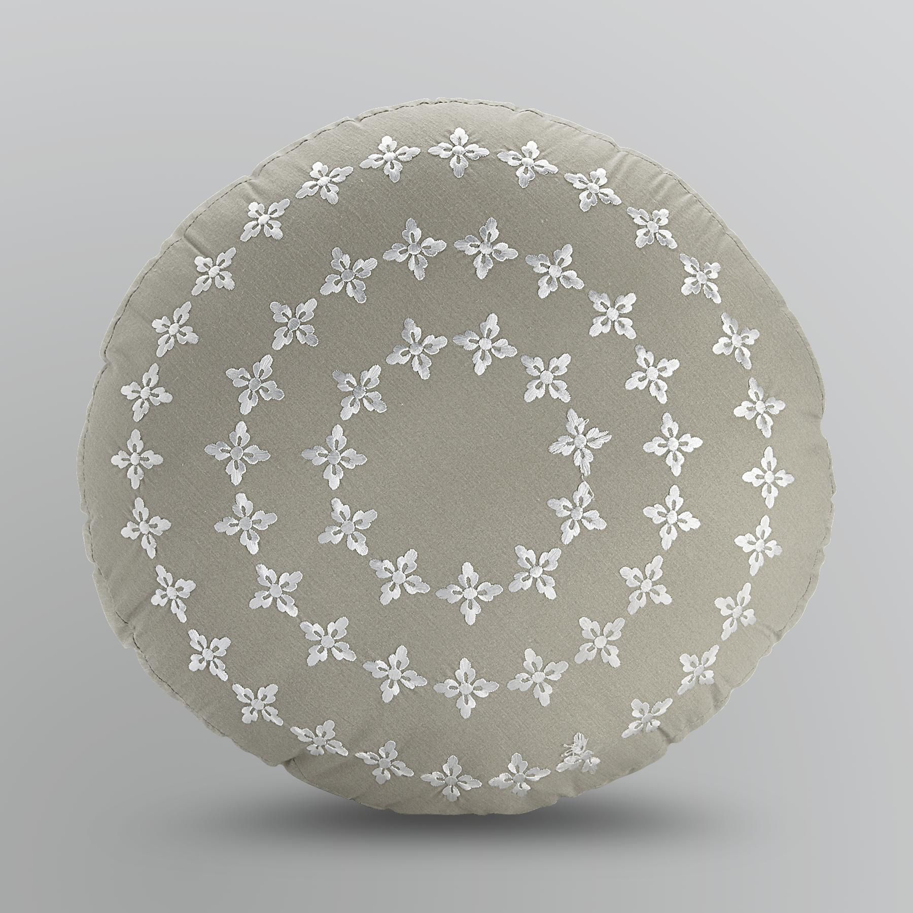 Round Gray Embroidered Decorative Pillow