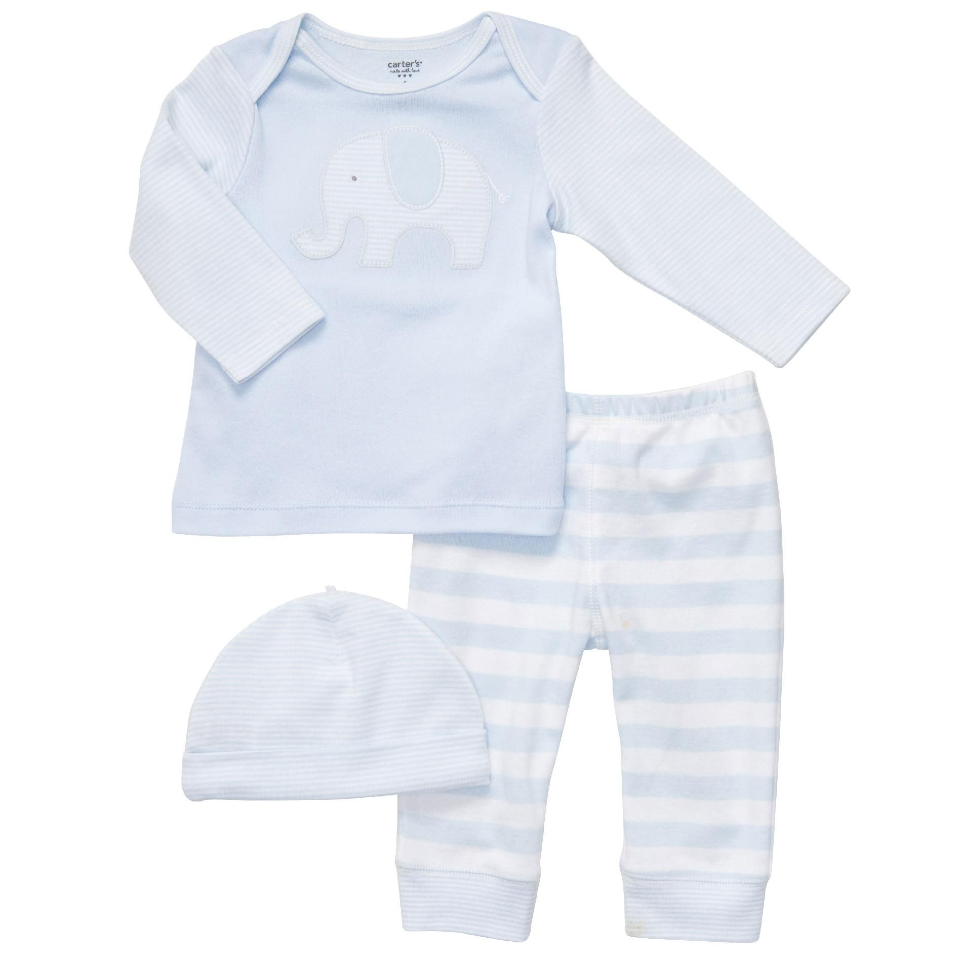 Infant Set 3pc Blue Elephant with Cap Cotton-Blend