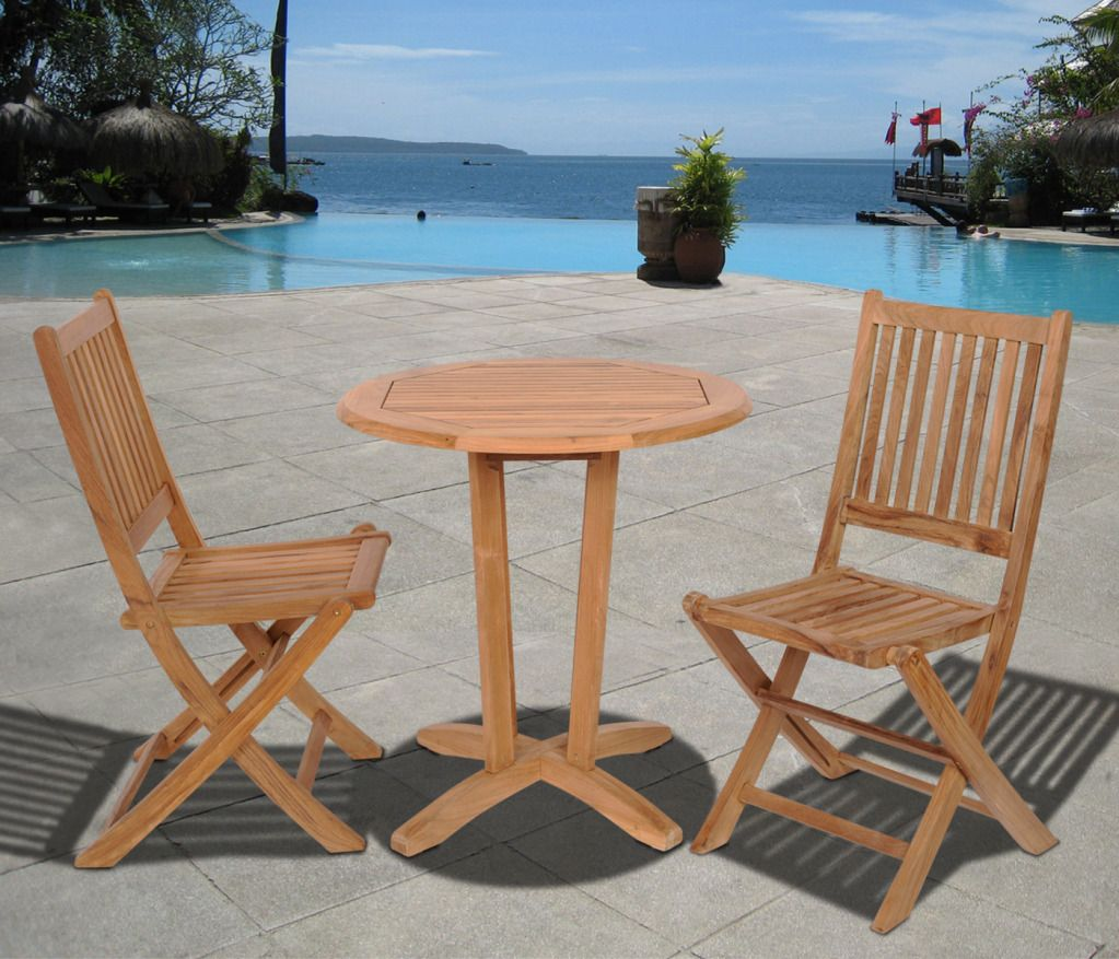 Seoul 3pc Round Teak Patio Dining Set