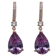 Grand Luxe Simulated Rose Quartz Rhodium Plated Drop Earring at Sears.com