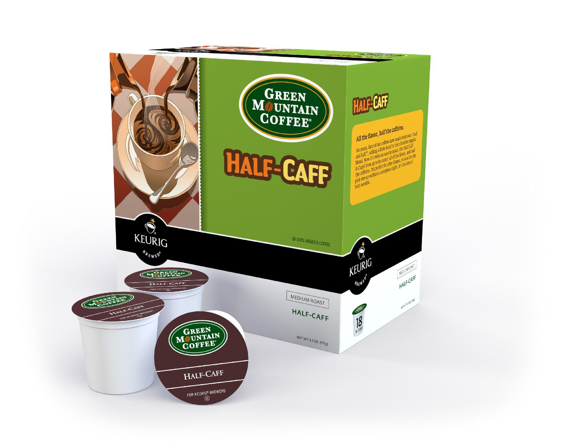 Green Mountain Coffee® Half-Caff Coffee, 18 Count K-Cups
