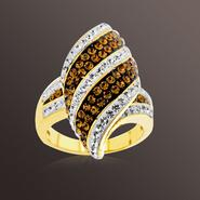 Chocolate Elegance Gold over Bronze Brown and White Crystal Kite Stripe Ring at Kmart.com