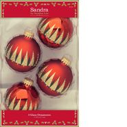 Sandra by Sandra Lee Merry Holiday 4ct 67mm Decorated Glass Ball Ornaments - Gold Trees at Kmart.com