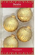 Sandra by Sandra Lee Merry Holiday 4ct 67mm Decorated Glass Ball Ornaments - Gold Icicles at Kmart.com
