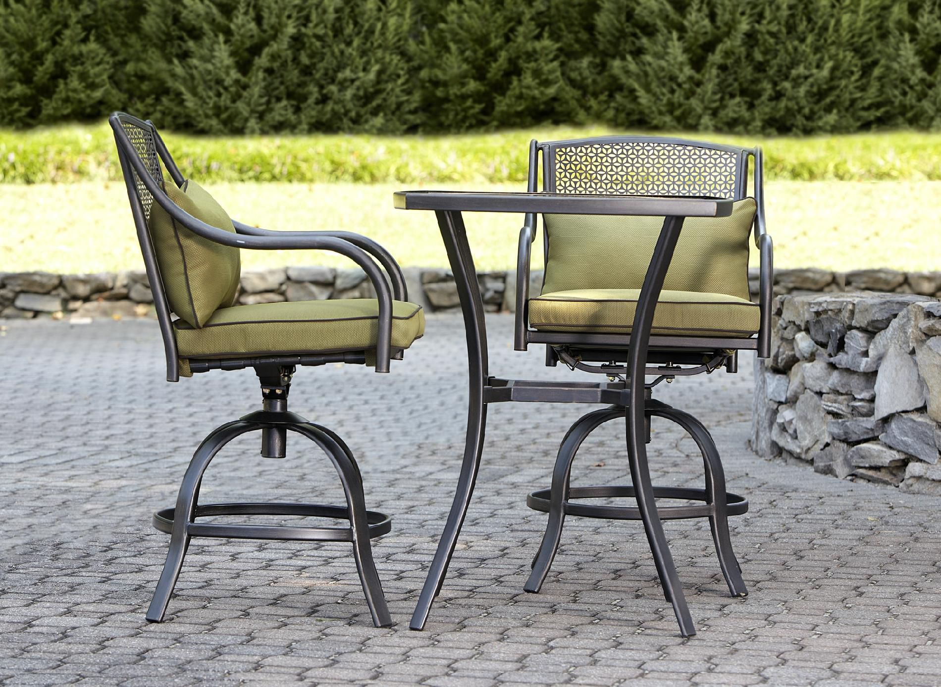 Bowery 3pc Stamped Back Tall Bistro Set with Swivel Chairs