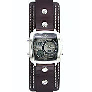 Surface Mens' Brown Leather Watch with Square Multi Dials at Kmart.com