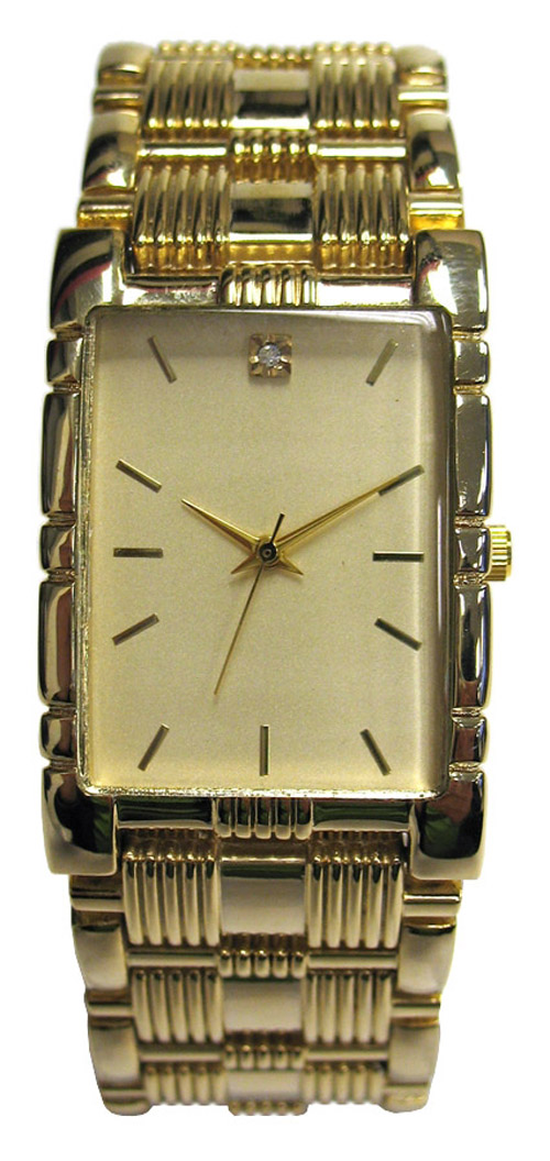 Men's Gold-Tone Tank Bracelet Watch