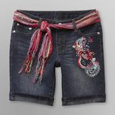 Route 66 Girl's Belted Cuffed Denim Shorts at mygofer.com