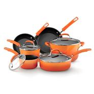 Rachel Ray 10 Piece Porcelain Enamel Non-Stick Orange Cookware Set at Sears.com
