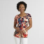 Jaclyn Smith Women's Knit Peasant Top - Floral at Kmart.com