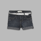 Route 66 Girl's Belted Cuff Denim Shorts at mygofer.com