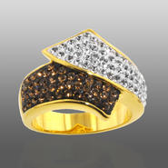 Chocolate Elegance Gold Over Bronze Brown & White Crystal Bypass Ring at Kmart.com