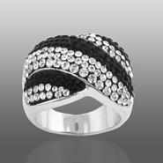 Shades Of Elegenace Platinum Over Bronze Black & White Wavy Stripe Ring at Kmart.com