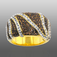 Chocolate Elegance Gold Over Bronze Brown & White Crystal Zebra Ring at Kmart.com