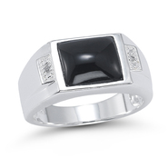 Onyx and Diamond Accent Ring in Sterling Silver at Sears.com