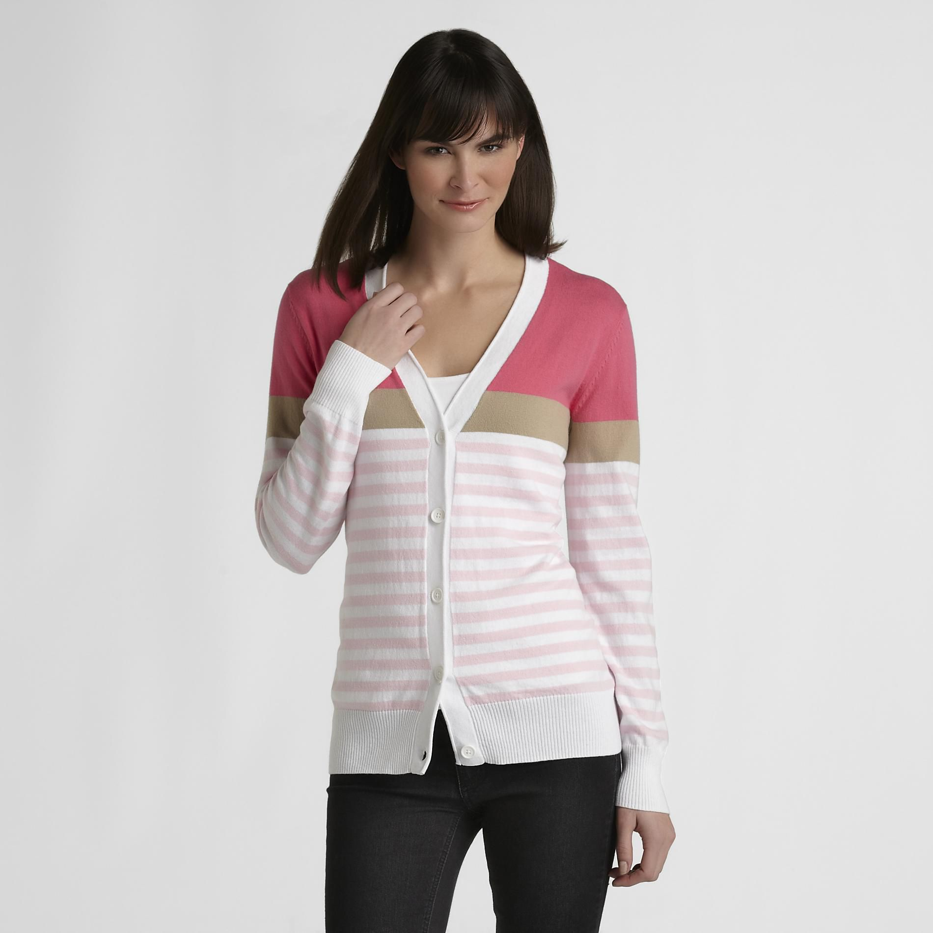 Basic Editions Women's Knit Cardigan - Stripe at Kmart.com