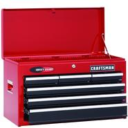 "Craftsman 26"" Wide 6-Drawer Quiet Glide® Top Chest - Red/Black at Craftsman.com"